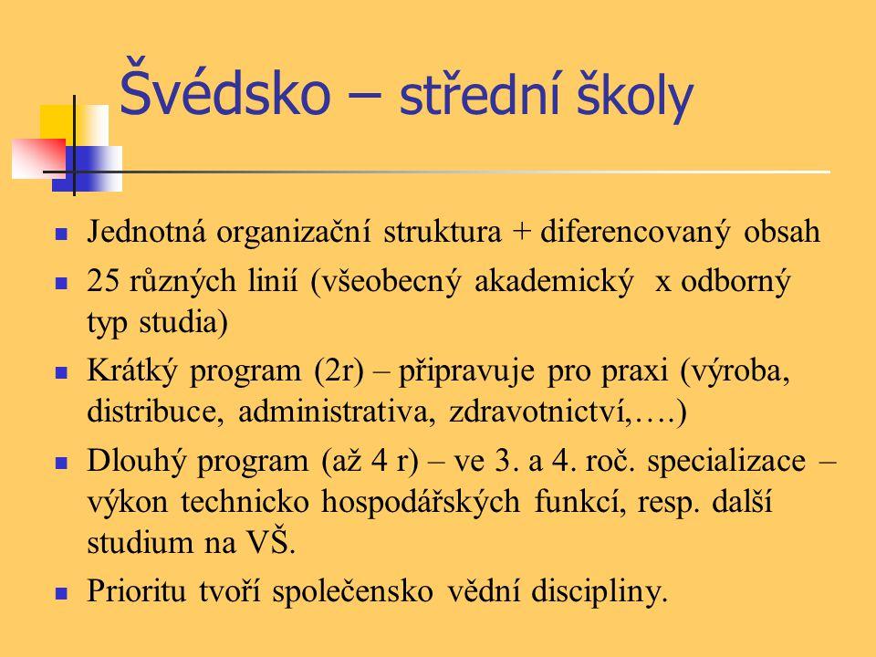 Švédsko – střední školy