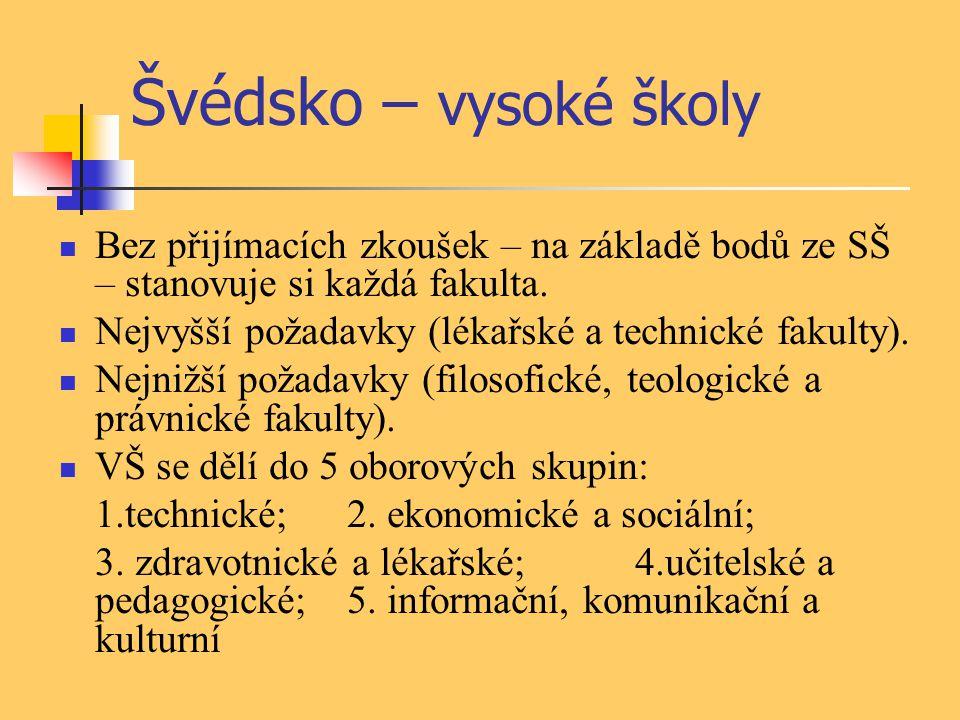 Švédsko – vysoké školy Bez přijímacích zkoušek – na základě bodů ze SŠ – stanovuje si každá fakulta.