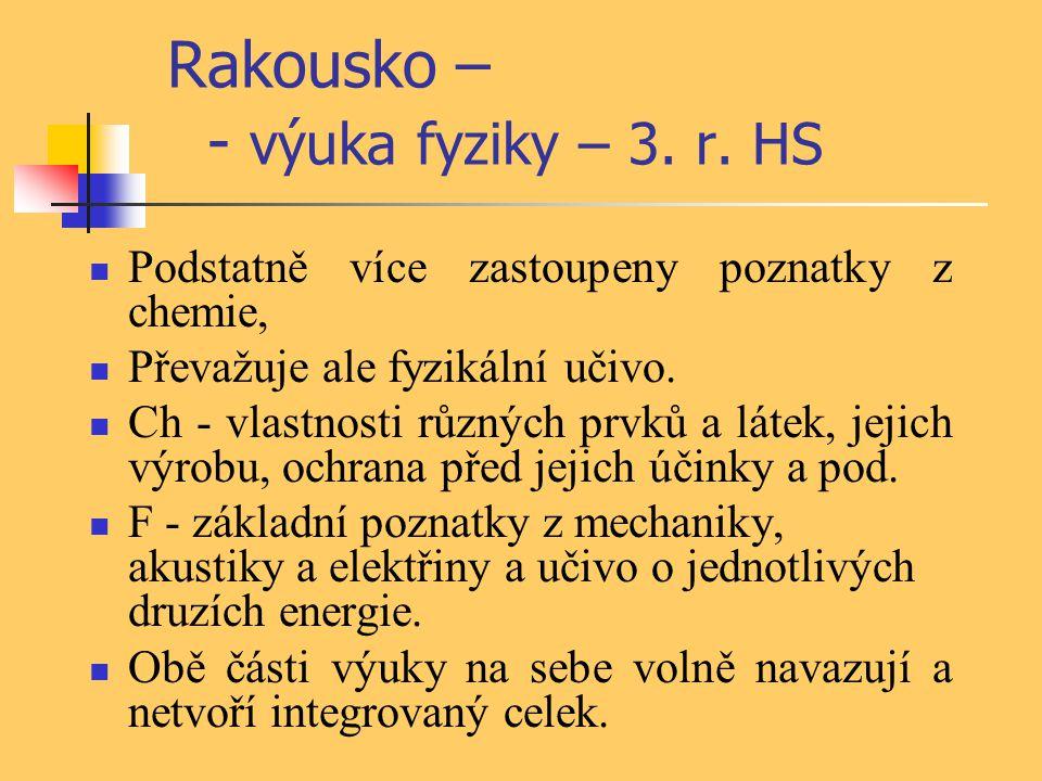 Rakousko – - výuka fyziky – 3. r. HS