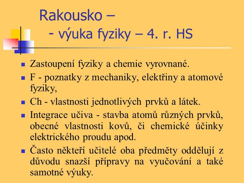 Rakousko – - výuka fyziky – 4. r. HS