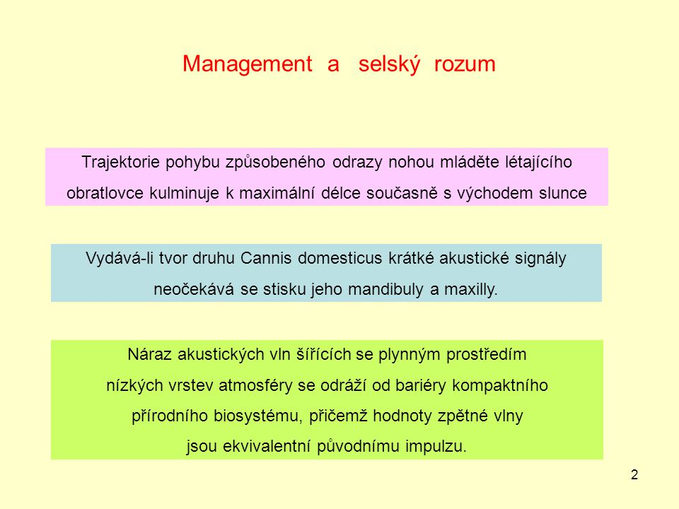 Management a selský rozum