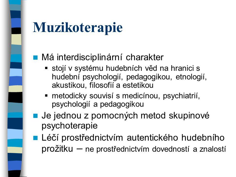Muzikoterapie Má interdisciplinární charakter