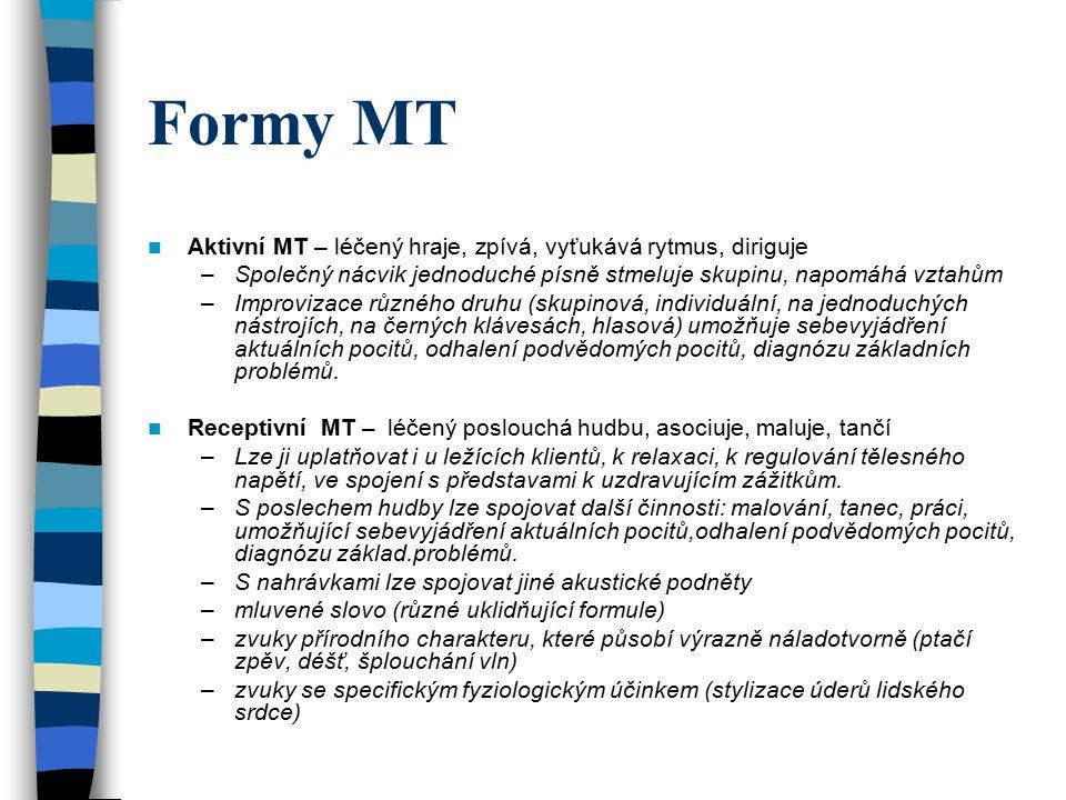 Formy MT Aktivní MT – léčený hraje, zpívá, vyťukává rytmus, diriguje