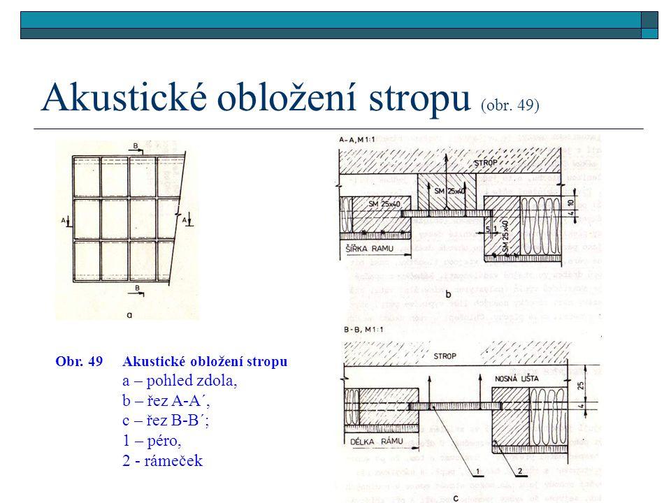 Akustické obložení stropu (obr. 49)