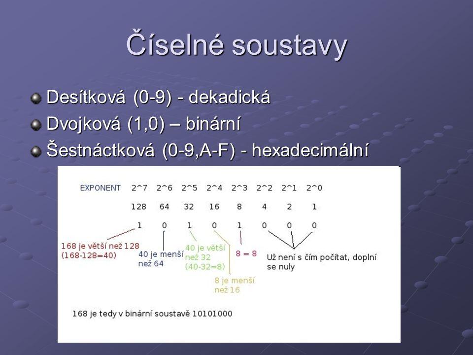 Číselné soustavy Desítková (0-9) - dekadická Dvojková (1,0) – binární