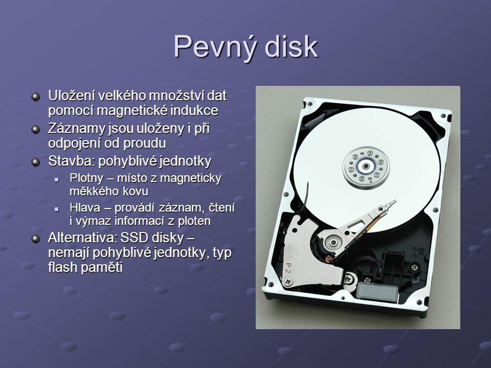 Pevný disk Uložení velkého množství dat pomocí magnetické indukce