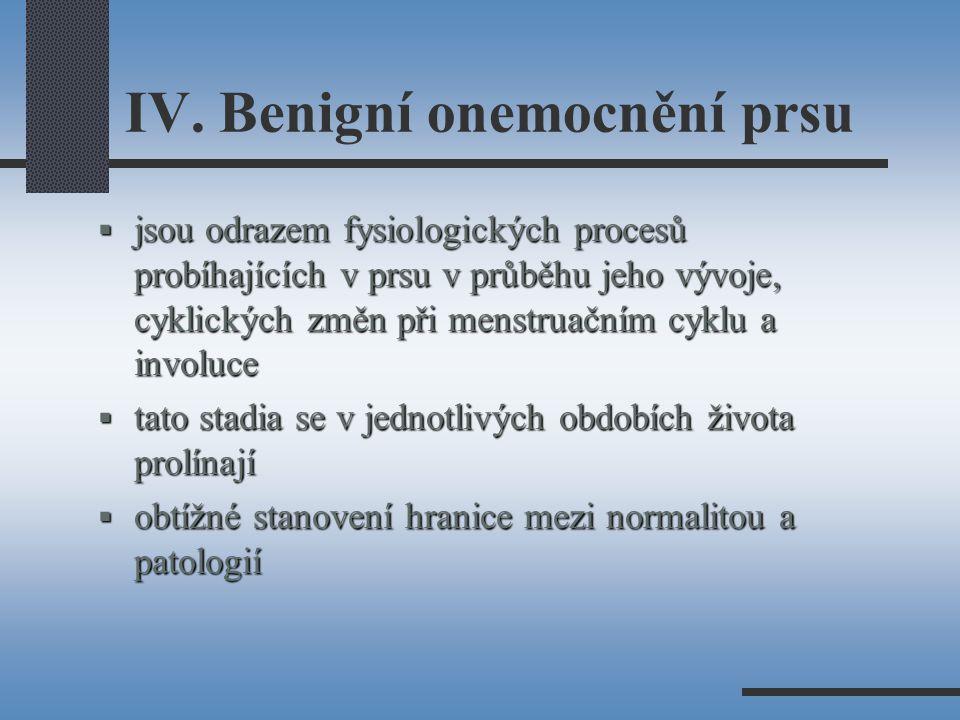 IV. Benigní onemocnění prsu