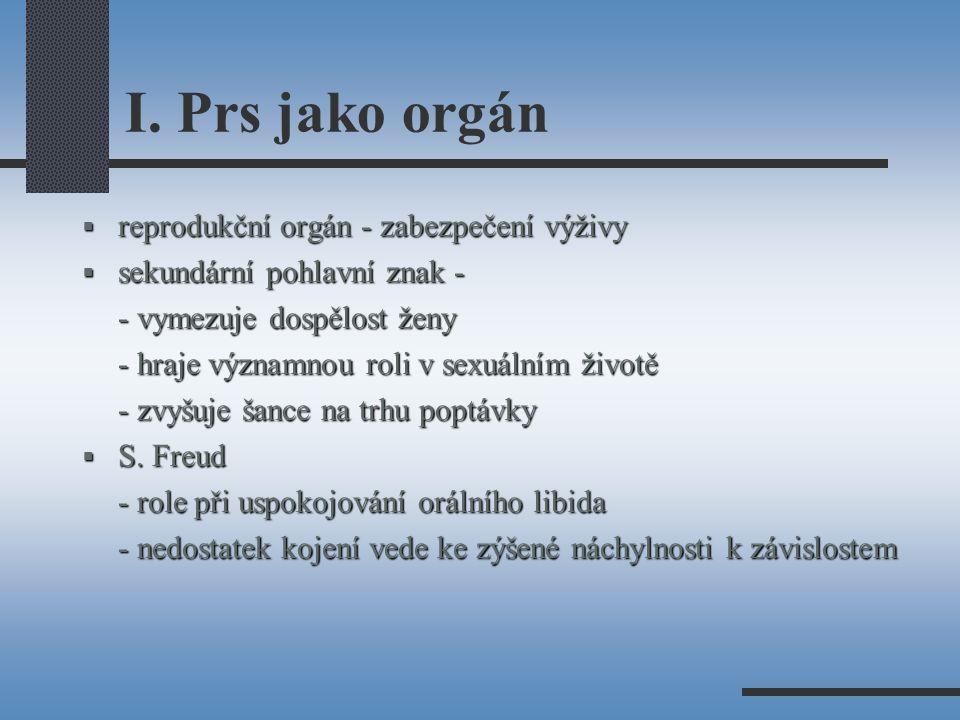 I. Prs jako orgán reprodukční orgán - zabezpečení výživy