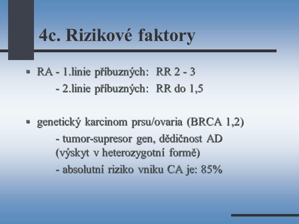 4c. Rizikové faktory RA - 1.linie příbuzných: RR 2 - 3