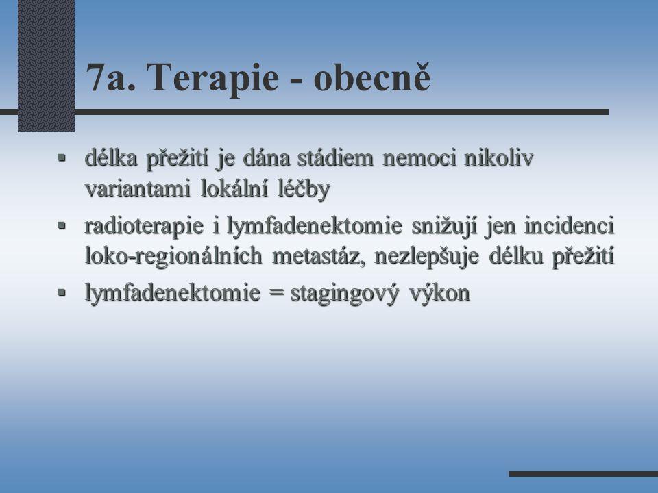 7a. Terapie - obecně délka přežití je dána stádiem nemoci nikoliv variantami lokální léčby.