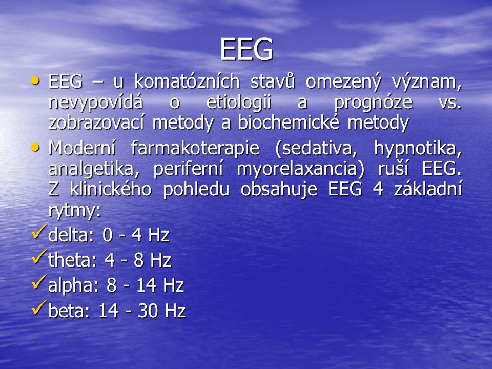 EEG EEG – u komatózních stavů omezený význam, nevypovídá o etiologii a prognóze vs. zobrazovací metody a biochemické metody.