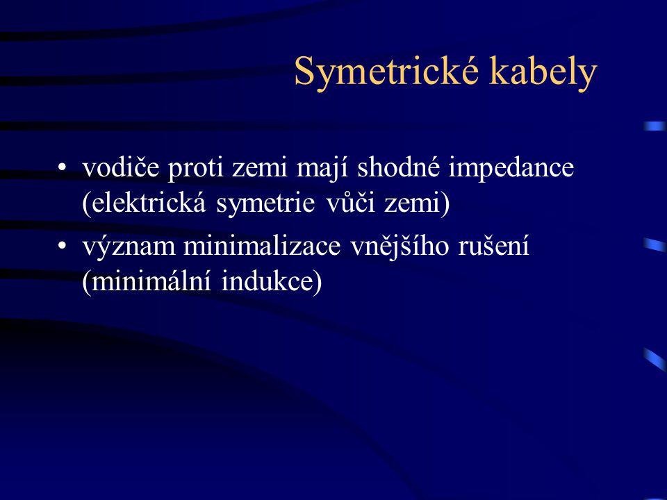 Symetrické kabely vodiče proti zemi mají shodné impedance (elektrická symetrie vůči zemi) význam minimalizace vnějšího rušení (minimální indukce)