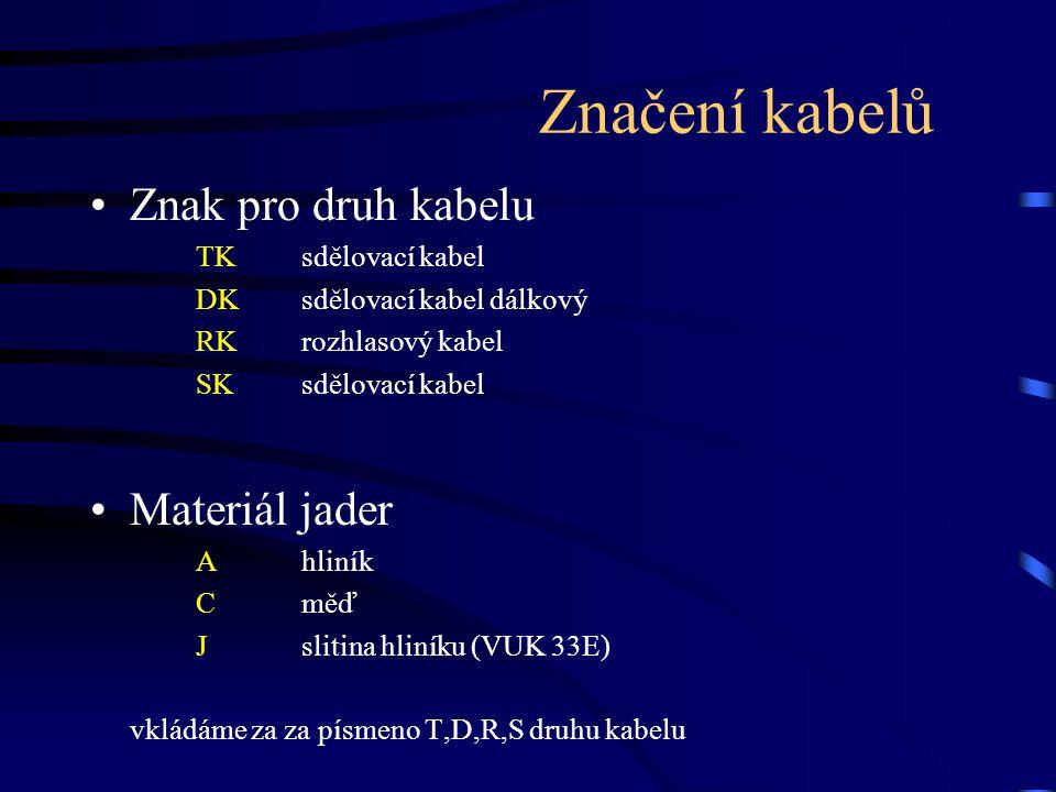 Značení kabelů Znak pro druh kabelu Materiál jader TK sdělovací kabel