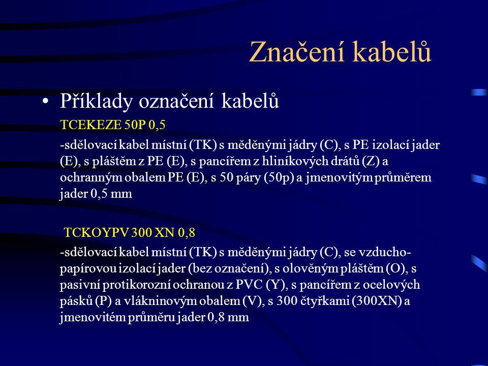 Značení kabelů Příklady označení kabelů TCEKEZE 50P 0,5