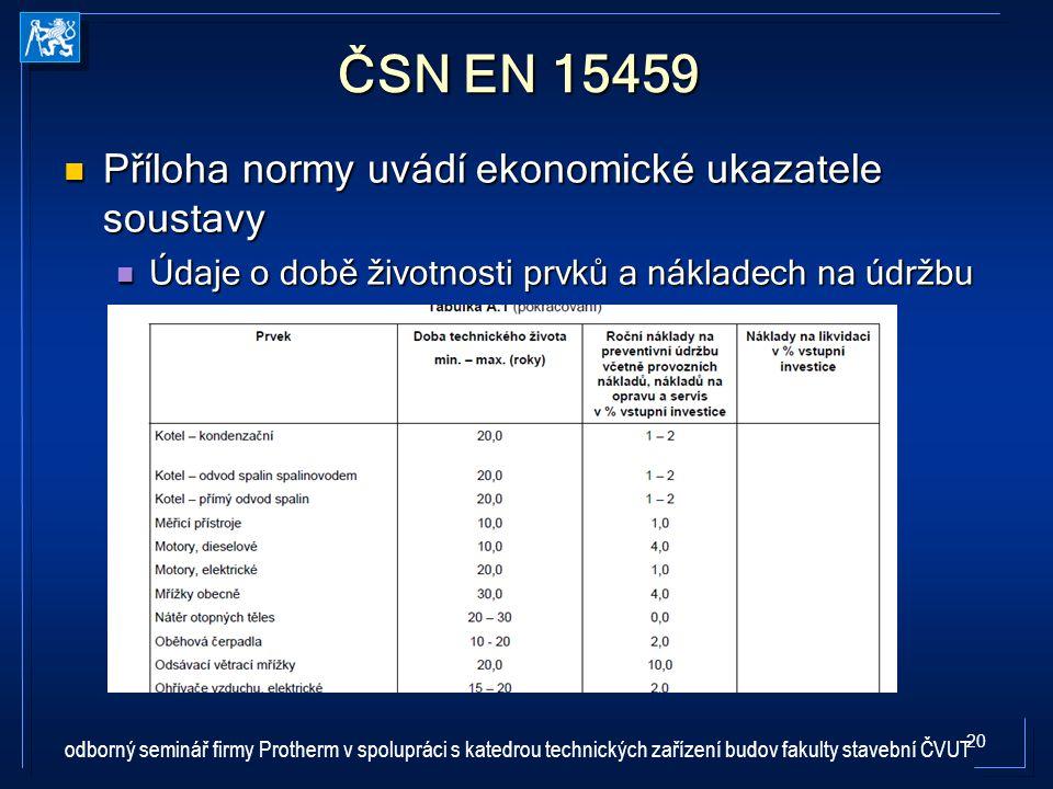 ČSN EN 15459 Příloha normy uvádí ekonomické ukazatele soustavy
