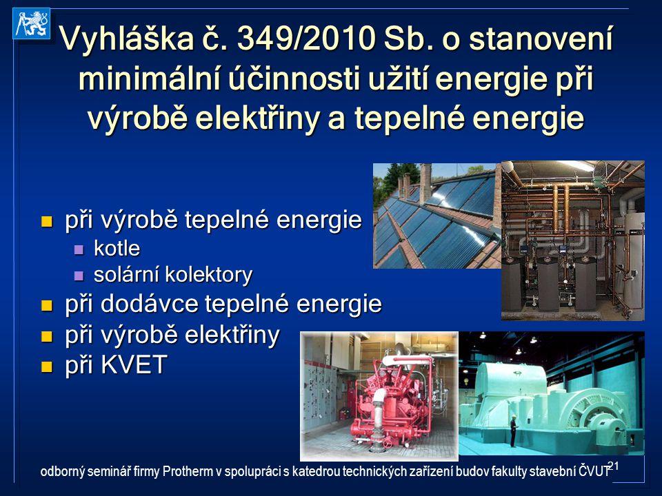 Vyhláška č. 349/2010 Sb. o stanovení minimální účinnosti užití energie při výrobě elektřiny a tepelné energie