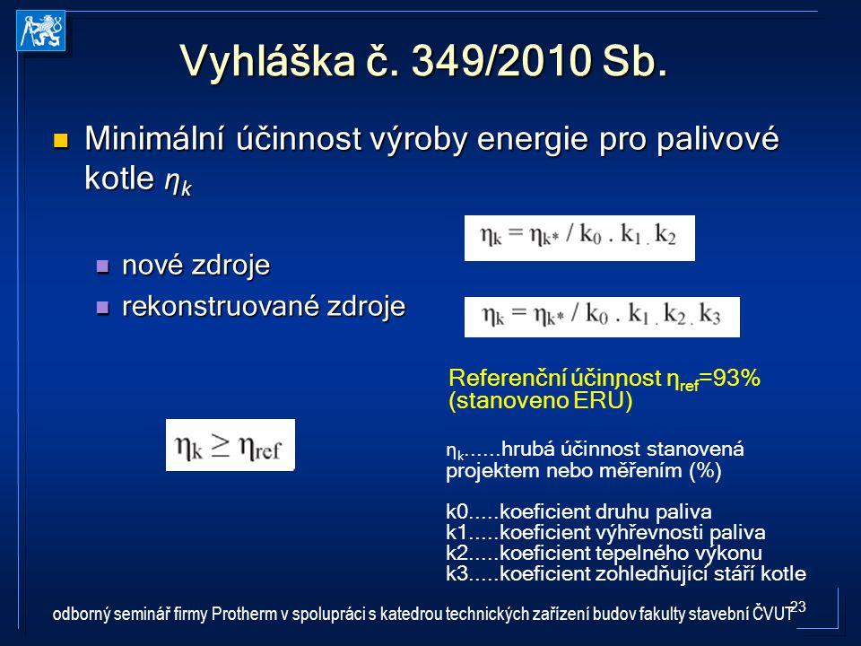 Vyhláška č. 349/2010 Sb. Minimální účinnost výroby energie pro palivové kotle ηk. nové zdroje. rekonstruované zdroje.
