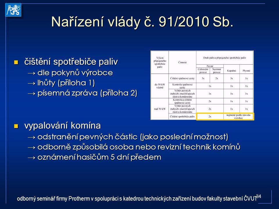 Nařízení vlády č. 91/2010 Sb. čištění spotřebiče paliv