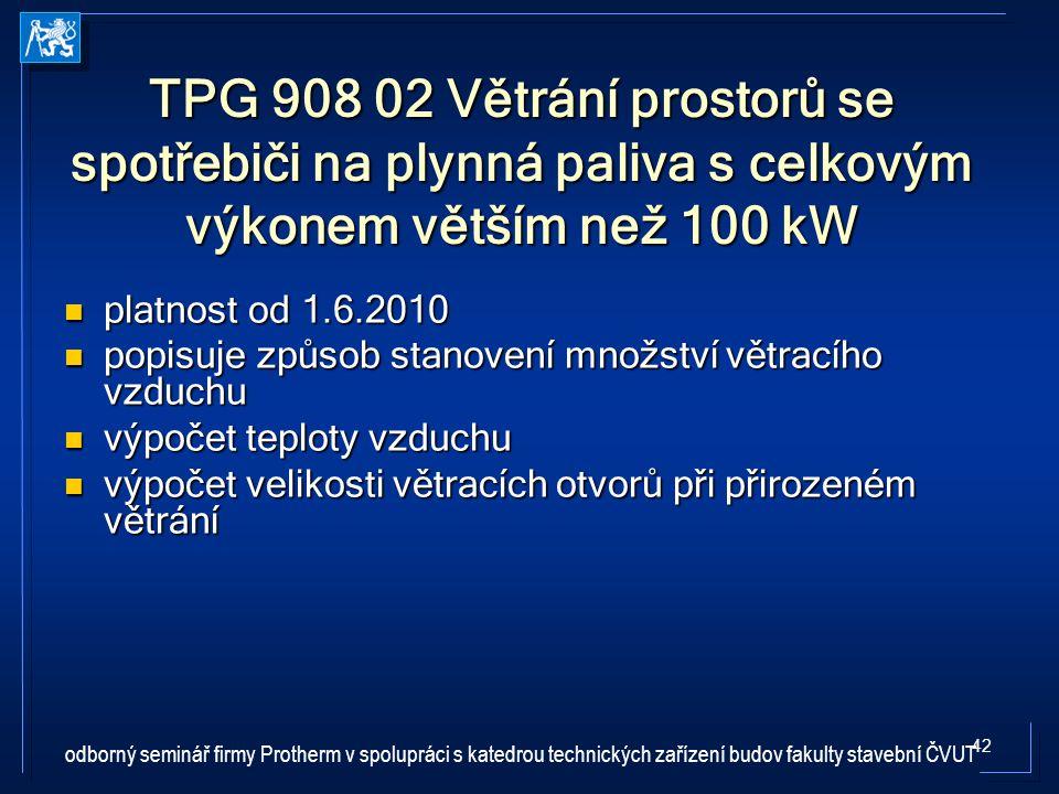 TPG 908 02 Větrání prostorů se spotřebiči na plynná paliva s celkovým výkonem větším než 100 kW