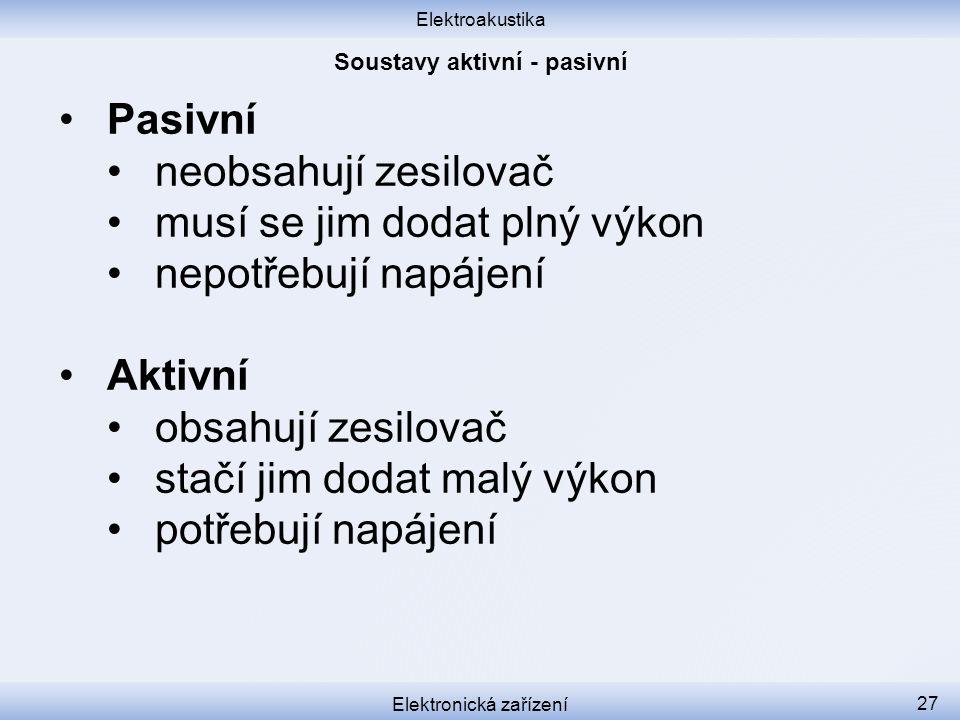 Soustavy aktivní - pasivní