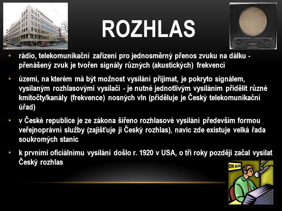 ROZHLAS rádio, telekomunikační zařízení pro jednosměrný přenos zvuku na dálku - přenášený zvuk je tvořen signály různých (akustických) frekvencí.