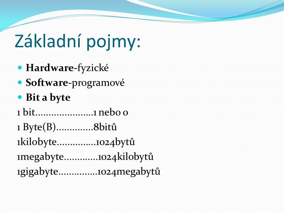 Základní pojmy: Hardware-fyzické Software-programové Bit a byte