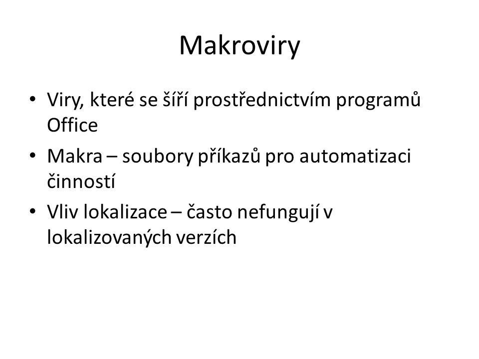 Makroviry Viry, které se šíří prostřednictvím programů Office
