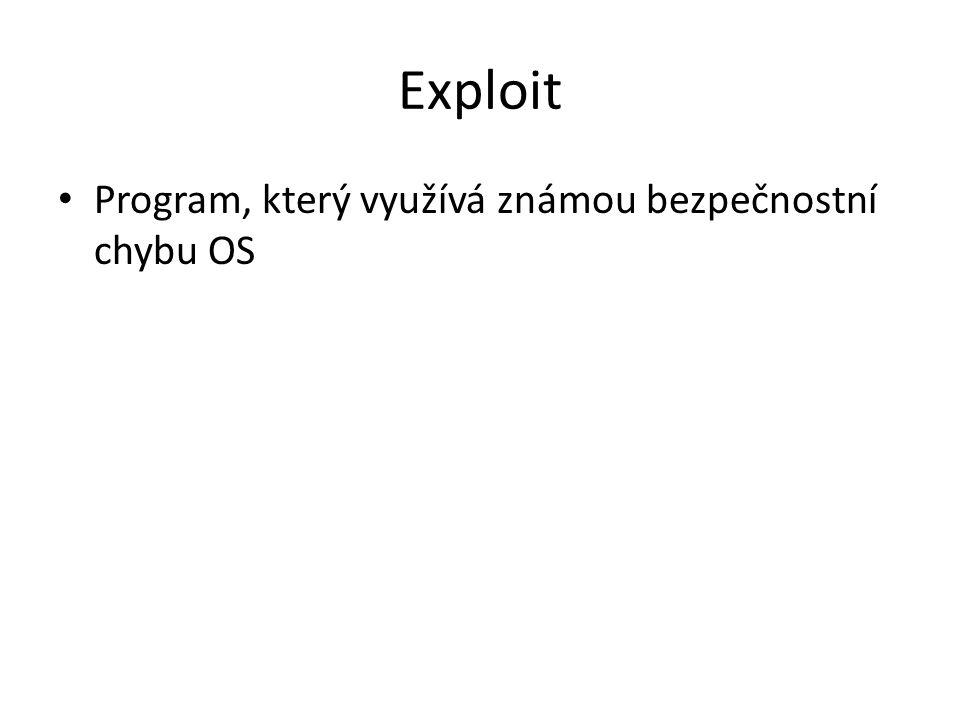 Exploit Program, který využívá známou bezpečnostní chybu OS