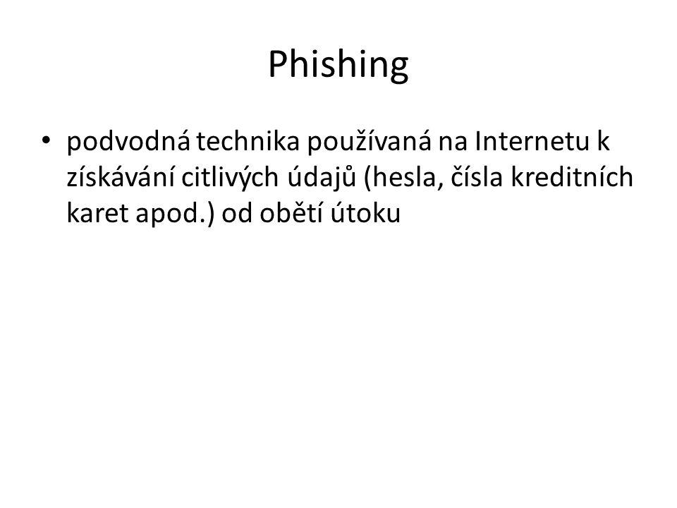 Phishing podvodná technika používaná na Internetu k získávání citlivých údajů (hesla, čísla kreditních karet apod.) od obětí útoku.