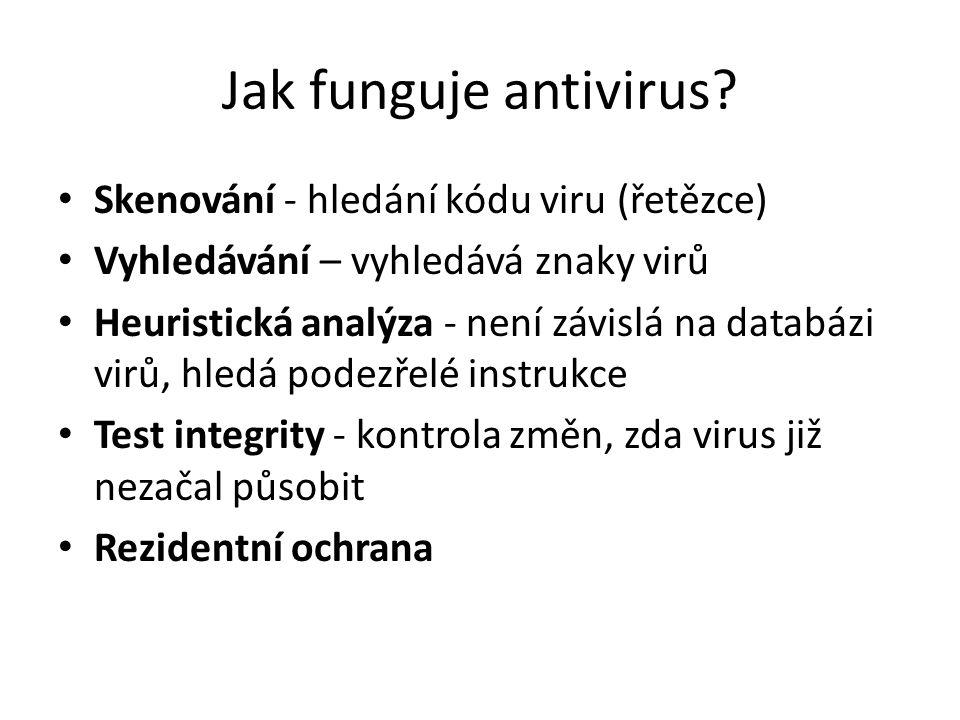 Jak funguje antivirus Skenování - hledání kódu viru (řetězce)
