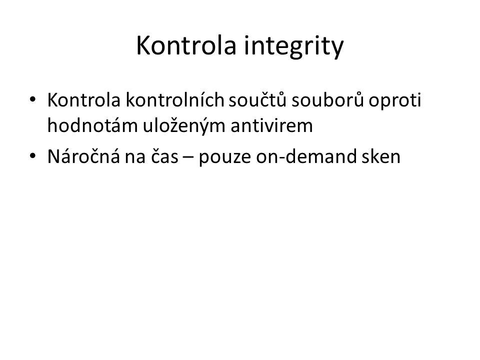 Kontrola integrity Kontrola kontrolních součtů souborů oproti hodnotám uloženým antivirem.