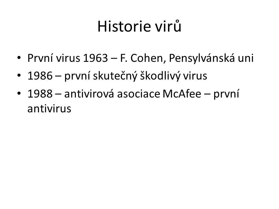Historie virů První virus 1963 – F. Cohen, Pensylvánská uni