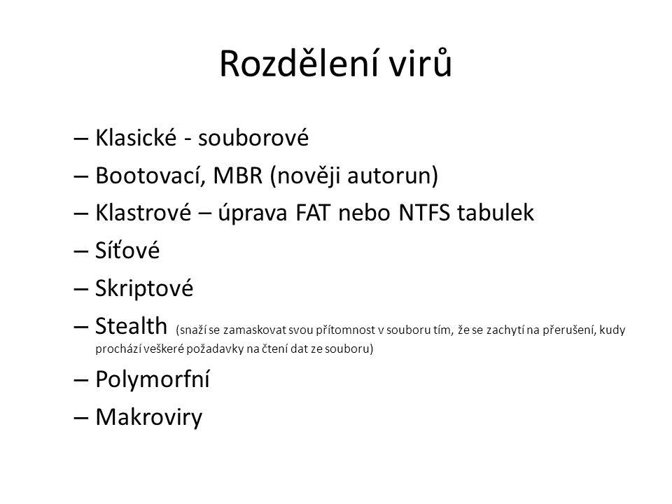 Rozdělení virů Klasické - souborové Bootovací, MBR (nověji autorun)