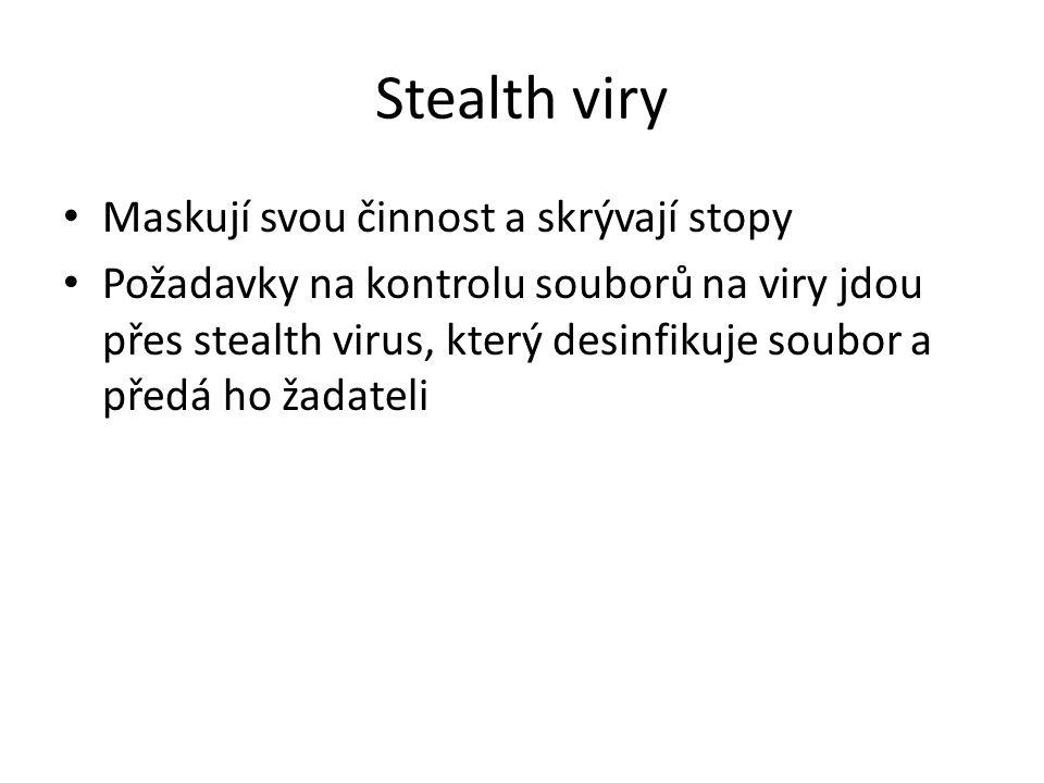 Stealth viry Maskují svou činnost a skrývají stopy