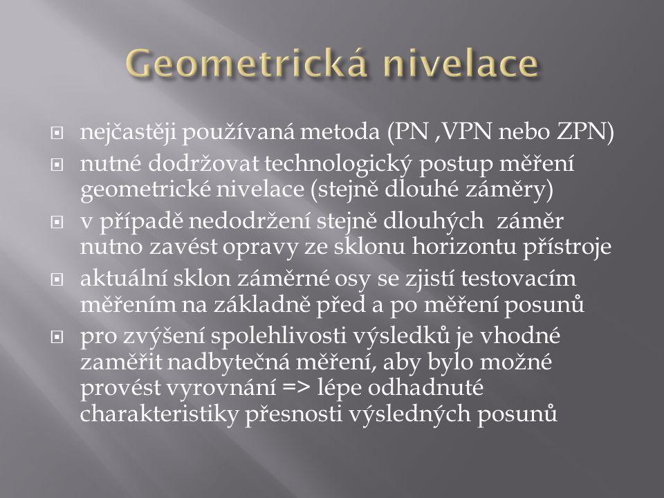 Geometrická nivelace nejčastěji používaná metoda (PN ,VPN nebo ZPN)