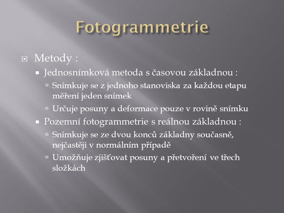 Fotogrammetrie Metody : Jednosnímková metoda s časovou základnou :