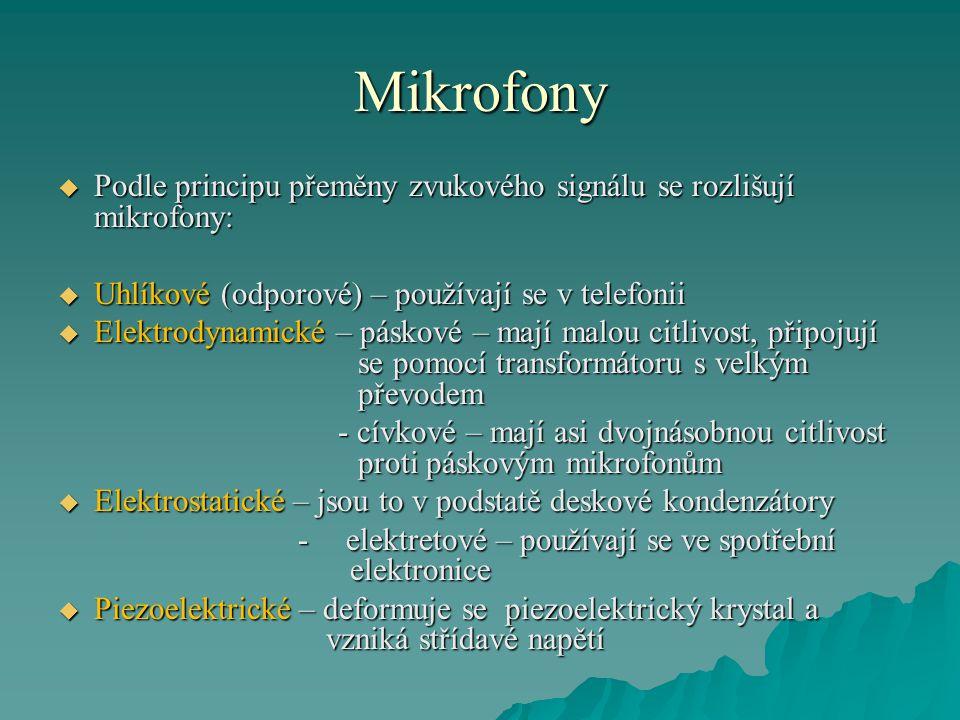 Mikrofony Podle principu přeměny zvukového signálu se rozlišují mikrofony: Uhlíkové (odporové) – používají se v telefonii.