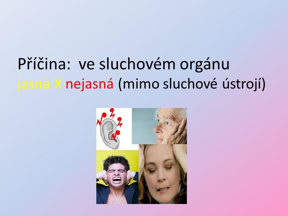 Příčina: ve sluchovém orgánu jasná X nejasná (mimo sluchové ústrojí)