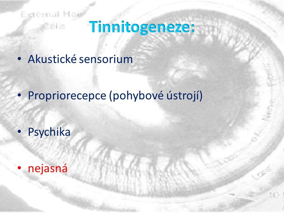 Tinnitogeneze: Akustické sensorium Propriorecepce (pohybové ústrojí)