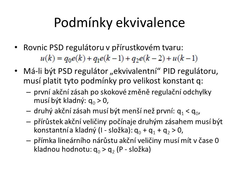 Podmínky ekvivalence Rovnic PSD regulátoru v přírustkovém tvaru: