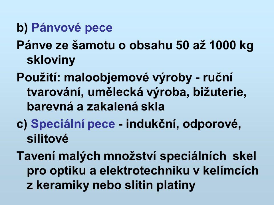 b) Pánvové pece Pánve ze šamotu o obsahu 50 až 1000 kg skloviny.