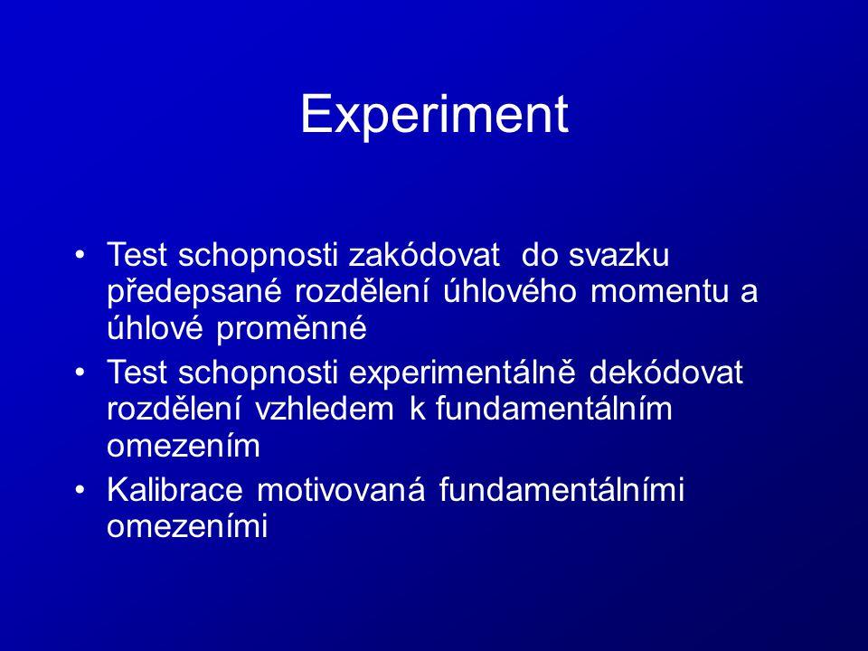 Experiment Test schopnosti zakódovat do svazku předepsané rozdělení úhlového momentu a úhlové proměnné.