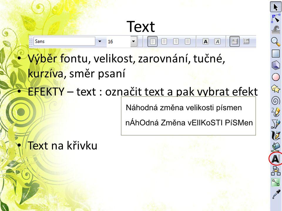Text Výběr fontu, velikost, zarovnání, tučné, kurzíva, směr psaní