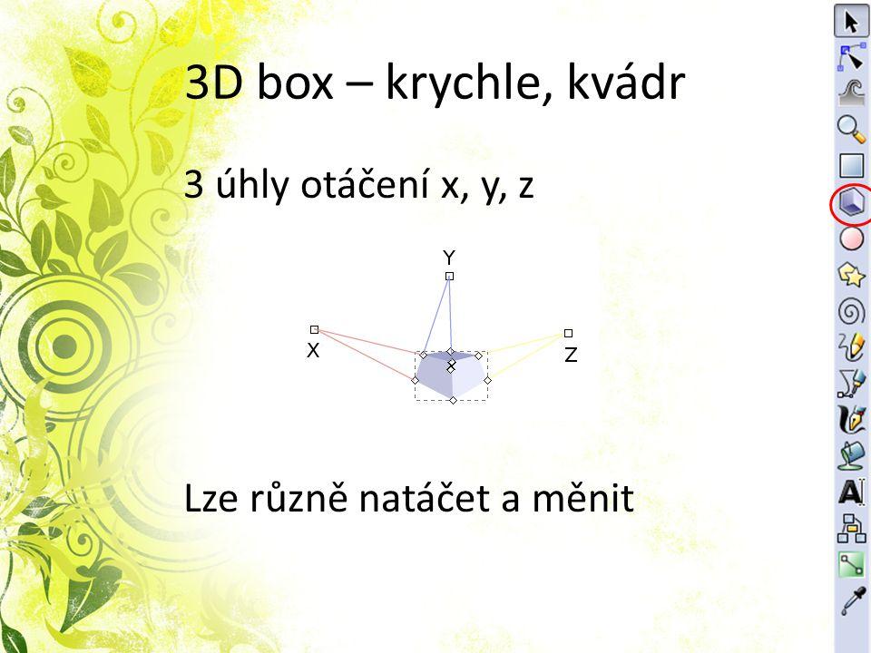 3D box – krychle, kvádr 3 úhly otáčení x, y, z