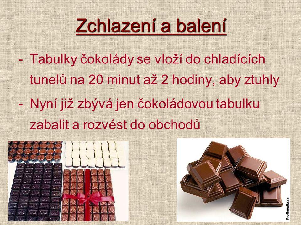 Zchlazení a balení Tabulky čokolády se vloží do chladících tunelů na 20 minut až 2 hodiny, aby ztuhly.