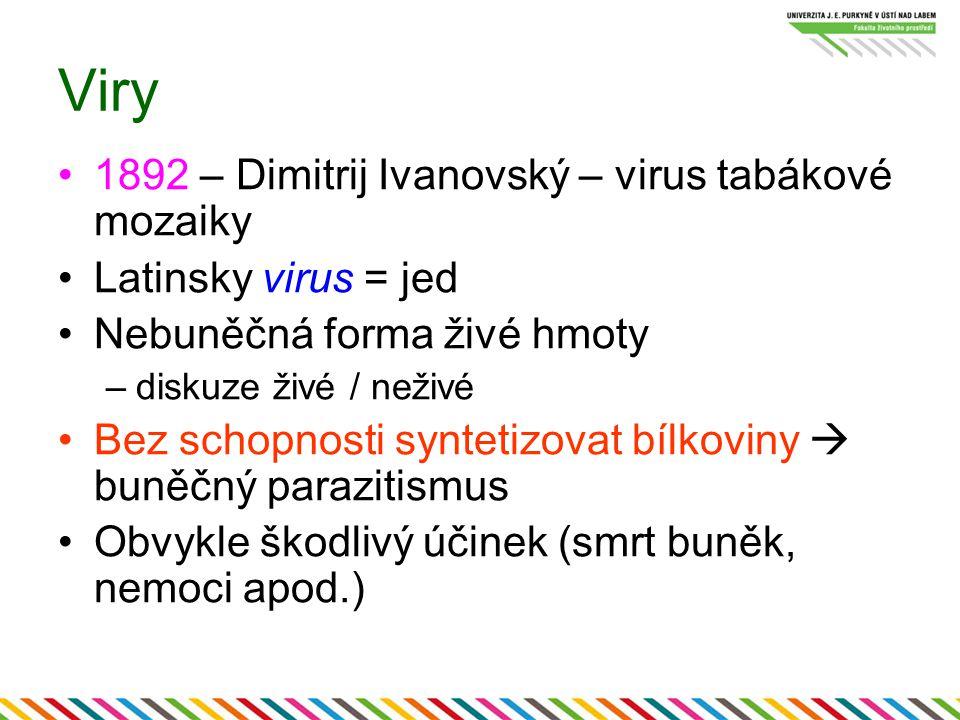 Viry 1892 – Dimitrij Ivanovský – virus tabákové mozaiky