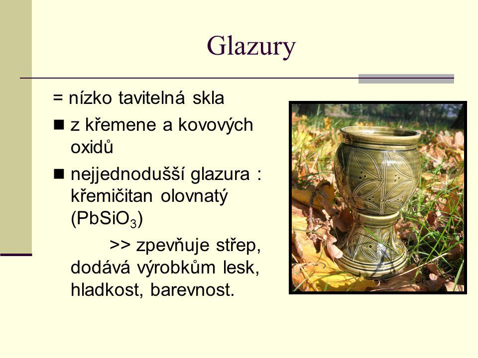 Glazury = nízko tavitelná skla z křemene a kovových oxidů