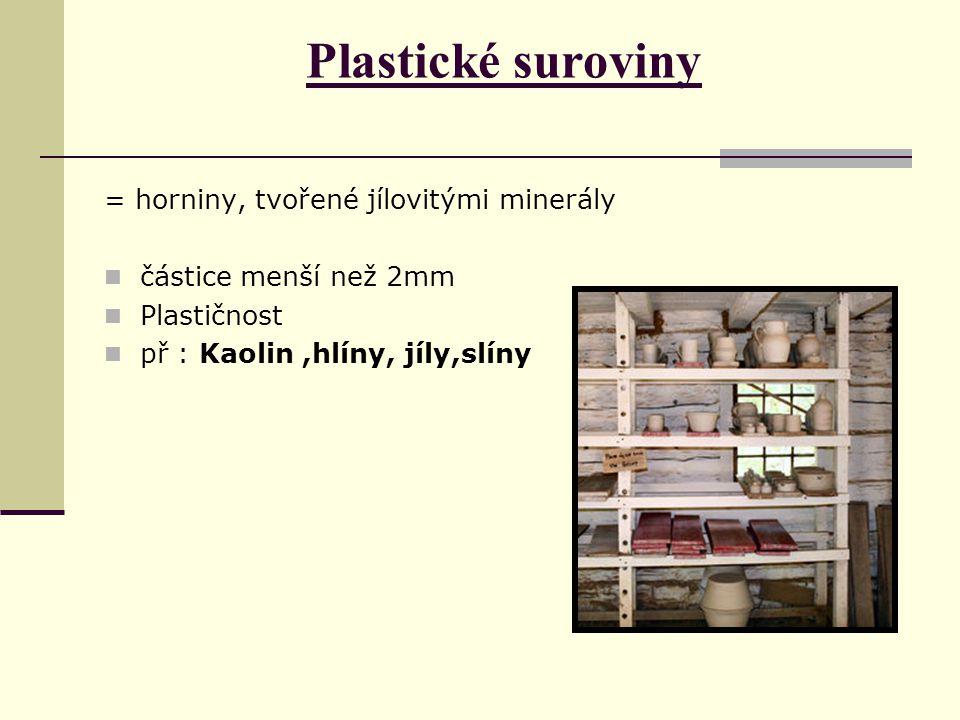 Plastické suroviny = horniny, tvořené jílovitými minerály