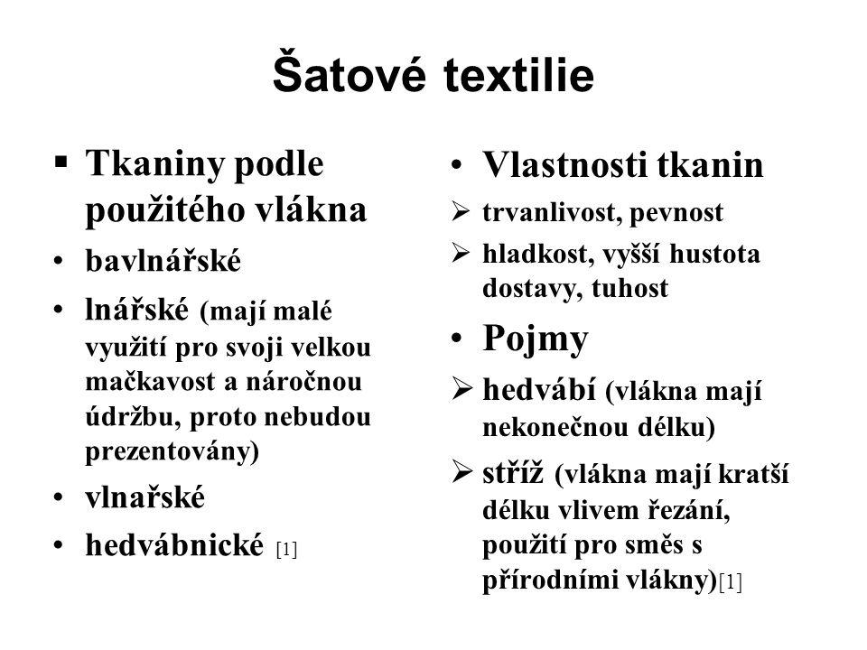 Šatové textilie Tkaniny podle použitého vlákna Vlastnosti tkanin Pojmy