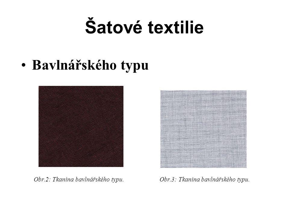 Šatové textilie Bavlnářského typu